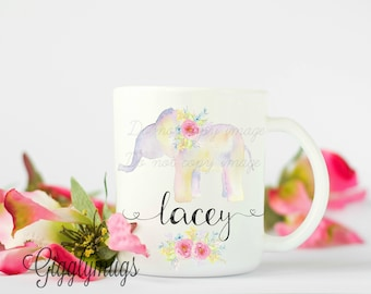 Personalized Elephant Mug/Wedding Gift/Anniversary Gift/Honeymoon Gift/Christmas Gift/Elephant Brithday Gift/Elephant Coffee Cup