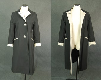 vintage 70s Trench Coat - 1970s Mod Trench Coat Two Tone Black and Beige Long Jacket Raincoat Sz M