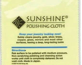 "Sunshine Polishing Cloth Large Size  7.5"" x 5"" Sterling Silver Polish Pad Tarnish Remover Jewelry Cleaner Gold Silver Brass Copper Polisher"