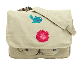 Tweet Chrysanthemum 1 Embroidered Canvas Messenger Bag