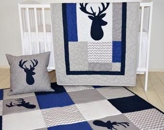 Deer Baby Bedding, Woodland Crib Quilt, Gray Navy  Baby Rug, Baby Play Mat