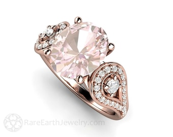 Morganite Engagement Ring Oval Accented Solitaire Morganite Ring Conflict Free Diamonds 14K or 18K Rose Gold Wedding Ring