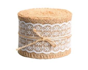 Burlap Ribbon Lace Burlap Ribbon Rustic Wedding Vintage Country Lace Burlap Decor Wedding Burlap Decor Burlap Decoration Burlap Mason Jar