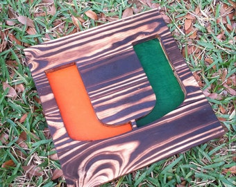 University of Miami Hurricanes Wood Burned Sign - Reclaimed Wood