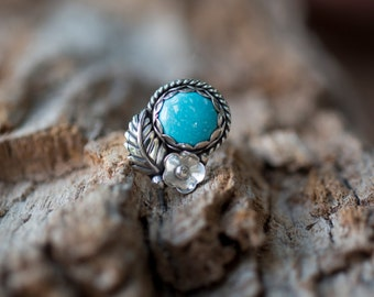Blue Moon Turquoise and Feather Ring by Prairieoats