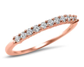14k Rose Gold Moissanite Anniversary Band - Rose Gold Wedding Band - dainty wedding band -stackable moissanite band AB11S17RR03