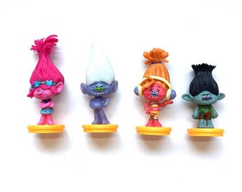 4 piece Trolls Cake toppers cupcake toppers trolls figures birthday party favors party supplies