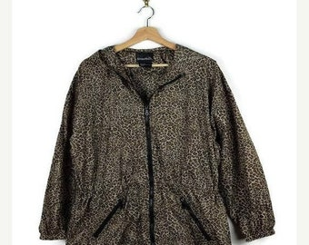 ON SALE Vintage Leopard Printed Zip up Hooded Parka from 90's/Drawstrings