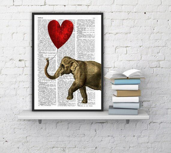 Elephant Art Print, DICTIONARY Art Print, Heart shaped balloons Wall Decor, Elephant POSTER Dorm Decor Fun Love BPAN083
