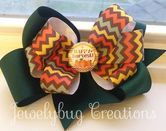 """Large Thanksgiving hairbow """"happy harvest"""" hairbow"""