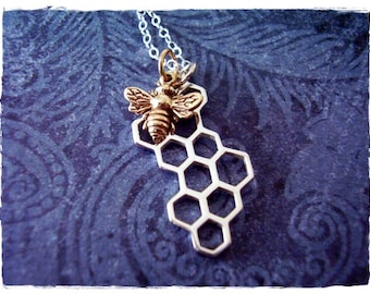 Honeybee and Honeycomb Necklace - Sterling Silver Honeycomb and Bronze Honeybee Charms on a Sterling Silver Cable Chain or Charms Only
