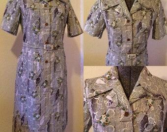 Vintage 1960 Embroidered Dress - Vintage Sixties Dress - Vintage Striped Dress