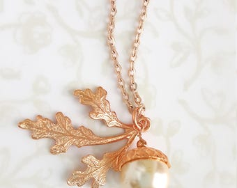 Acorn Pearl & Oak Leaves Rose Gold Necklace, Woodland, Nature, Fall, Wedding, Boho, Rustic, Bridesmaid Gift, Forest