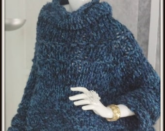 SWEATER  WOMANS KNITTED Poncho With Sleeves   Fall Is Great Poncho Weather