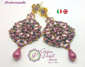 Shehrazade Earrings  TUTORIAL with DiamonDuo, OBeads, Bicone and Seed Beads