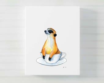 Watercolor Meerkat Art Print Whimsical Tea Lover Gift For Tea Lover Whimsical Animal Art Funny Kitchen Art Kitchen Wall Art Tea Art Print
