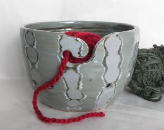 Carved Slip Yarn Bowl for Crocheting and Knitting