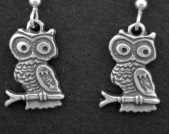 Sterling Silver Little Owl Pendant on Sterling Silver Chain.