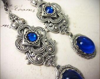 Sapphire Jewel Renaissance Earrings, Blue Earrings, Borgias, Medieval Jewelry, Tudor Earrings, Bridesmaid Earrings, SCA, Ready to Ship
