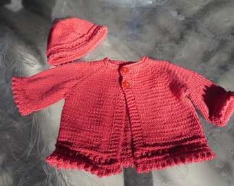 Hand knit red little girl picot edge cardigan and hat