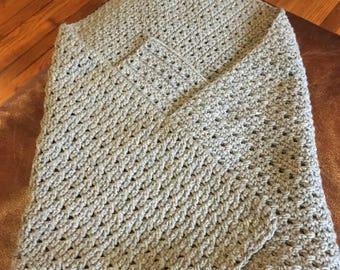"Small 32x 26"" Gray Heather baby blanket"