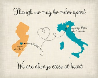 Moving Away Gift Idea, Though we May be Far Apart Quote, Gift for Grandparents, Going Away Gift for Family, Map Art, Any 2 Places, (17b)