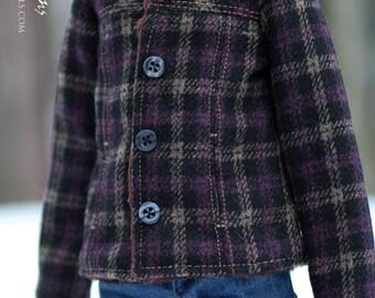 Purple plaid coat  -for 1/4 MSD bjd
