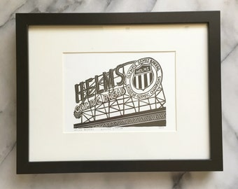 Helms Bakery, Framed Letterpress Print