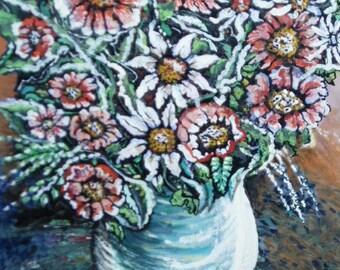 Original Acrylic Unique Art (Florial Fantasy)  Signed  Kate Perrin