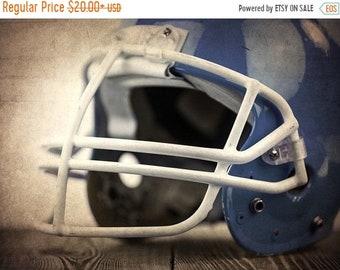FLASH SALE til MIDNIGHT Vintage Football Helmet  Blue Photo Print,Decorating Ideas, Wall Decor, Wall Art,  Kids Room, Nursery Ideas, Gift Id