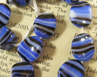 Vintage Glass Striped beads (12)