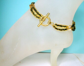 ANKLET, Yellow and Black Glass Bead Ankle Bracelet, 1990s