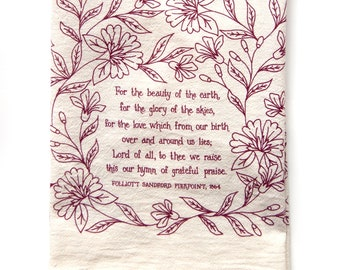 Hymn Tea Towel For the Beauty of the Earth | Christian wall art gift for her teacher gift idea mothers day art print kitchen towels