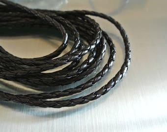 Two meters of black braided 5 mm Pu leather cord