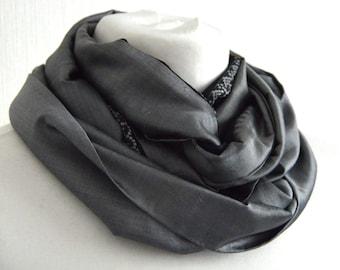 Silver Grey Black Silk Scarf, silk Infinity Scarf, Recycled Sari Scarf, Sari Sik Scarf, Boho Scarf, Loop Scarf, Indian Silk Scarf CMCISE0419