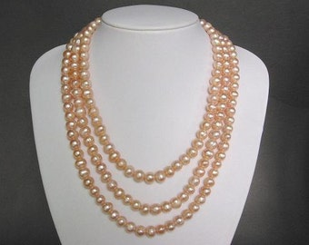 Necklace 3 Strands FW Champagne 9mm Pearls Loops NHPC0111