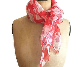 Organza silk scarf red and floral print