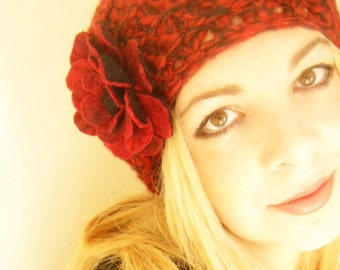 Black and Dark Red Crochet Beret Hat -Felt Flower Brooch-Hand Felted with Merino Wool in Black and dark Red