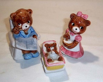 Vintage, Ceramic Family of 3 Bear Figurines - Mama, Papa and Baby Bear in Buggy - So Cute