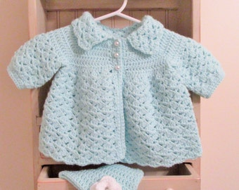 Crochet Baby Sweater, Baby Sweater Set, Crochet Baby Hat, Mint Green, Newborn Outfit, Baby Coat and Hat, Baby Shower Gift, Infant Gift Set