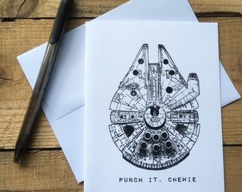 Millennium Falcon Blank Notecards - Punch It, Chewie Blank Notecards - Star Wars Blank Notecards