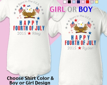 Happy Fourth of July - Born in the USA - Bodysuit - Girls - Boys -  Personalized with Name and Year
