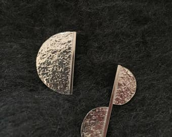 Handmade Sterling Silver Asymmetric Geometric Semi Circle Earrings. Solid Silver Earrings. Circle Earrings. 925 Silver Earrings.
