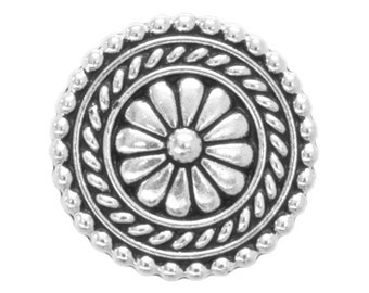 2 TierraCast Bali 11/16 inch ( 18 mm ) Silver Plated Pewter Buttons