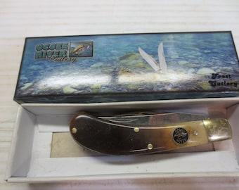 Frost Ocoee River Saddlehorn pocket knife rams horn NOS