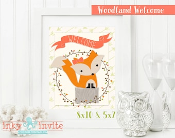 Sweet Woodland Baby Shower GIRL Welcome Sign Instant Download | Forest Friends Baby Shower | Woodland Animals Coral Green
