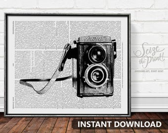 VINTAGE CAMERA Dictionary Page Printable Art - Camera Print, Camera Illustration, Photography Art, Gift for Photographer, Instant Download