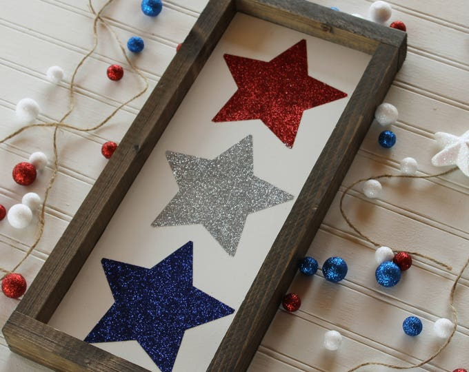 Featured listing image: Patriotic star sign, patriotic sign, 4th of july decor, space taker, july 4th sign, home decor framed sign,  patriotic decor America