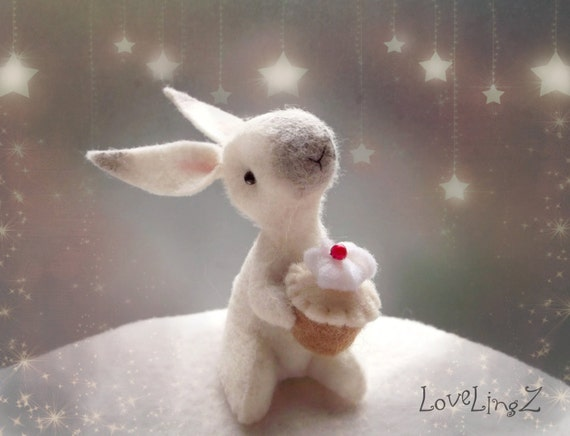 Bunny with cupcake felt mini rabbit with cake birthday