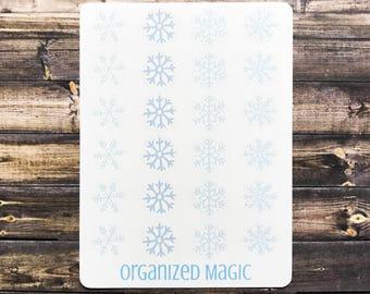 snowflake planner stickers, winter planner stickers, holiday planner stickers, weather planner stickers, snowflake stickers